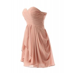 Chiffon Sweetheart Short Bridesmaid Dresses With Ruffle Knee-length High-Low Dress