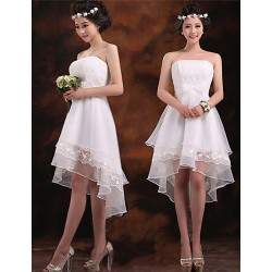 Elegant Strapless High Low Chiffon Bridesmaid Dresses Lace Short Prom Party Gowns