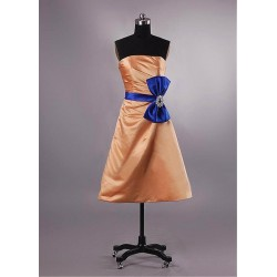 Strapless Short Orange Bridesmaid Dresses With Blue Bowknot Lace Up Party Gown
