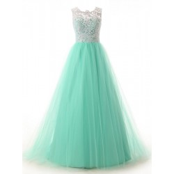 Floor Length Green Organza Ball Dress White Lace Formal Dress Long Prom Dress