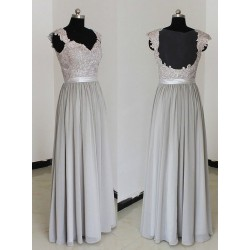 Silver Straps Lace Prom Gown A-line Floor Length Chiffon Ruched Grey Backless Bridesmaid Dress