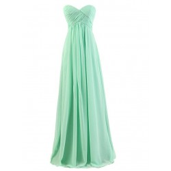 Long Prom Gown A Line Floor Length Sweetheart Green Chiffon Empire Bridesmaid Dresses With Ruched