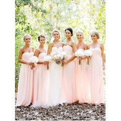 Elegant Sweetheart Long Pink Chiffon Bridesmaid Dress Uk
