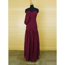 Fashion A-Line Sweetheart Floor Length Burgundy Bridesmaid Dress with Ruffles