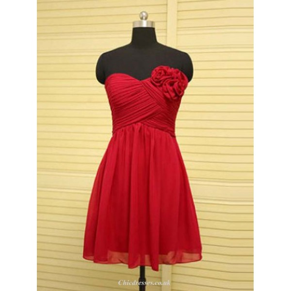 A-Line Sweetheart Red Knee Length Chiffon Bridesmaid Dress with Flower 2016 New Arrival