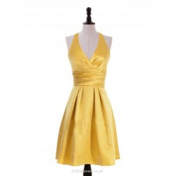 Short V Neck Gold Bridesmaid Dresses Halter Prom Dress