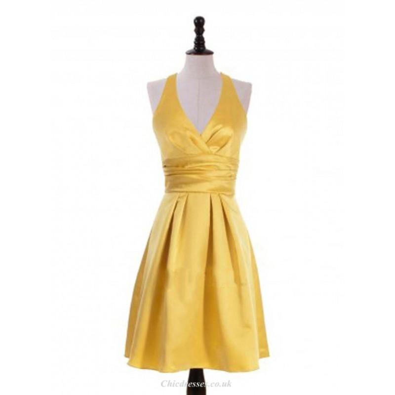 Short V Neck Gold Bridesmaid Dresses Halter Prom Dress