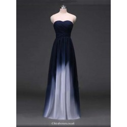 Floor Length Chiffon Formal Evening Dresses Dark Navy Long Prom Dress A Line Sweetheart
