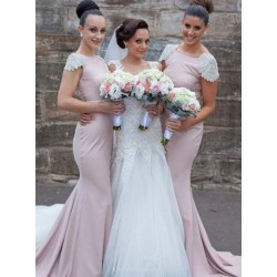 Trailing Pearl Pink Long Bridesmaids Dresses Capped Sleeves Mermaid Prom Evening Gowns