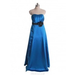 Floor Length Blue Bridesmaid Dress Long Elegant A Line Sweetheart Party Gown With Flower