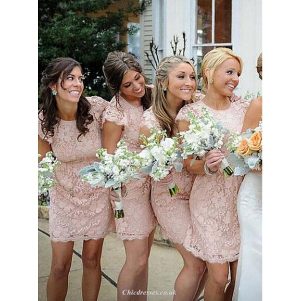 Cheap Lace Bridesmaid Dress Blush Pink Scoop Cap Sleeves Wedding Party Dress 2016 New Arrival