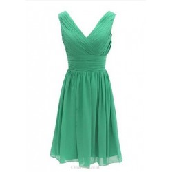 Short Green Chiffon Bridesmaid Dress V Neck Party Evening Dress