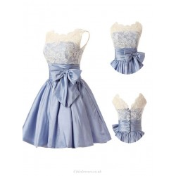 Short Ball Gown Ruffle Button Lace V Neck Sleeveless Straps Knee Length Blue Bridemaid Dress