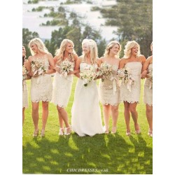 A Line Short Lace Bridesmaid Dresses Strapless Wedding Party Gown