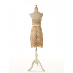 A Line Short Strapless Gold Lace Column Bridesmaid Dress With Removable Sash