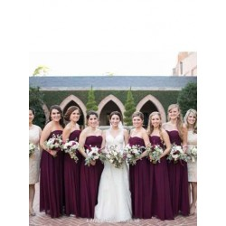 Elegant Floor Length A-line Bridesmaid Dress Chiffon Long Dark Purple Cheap Wedding Party Gowns