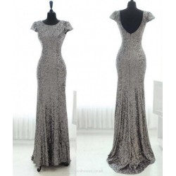 Sexy Long Backless Beaded Bateau Mermaid Party Dresses Cap Sleeves Floor-length Silvery Bridemaid Dress