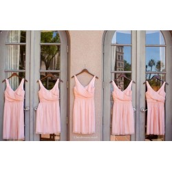 A line Short V neck Straps Pink Bridesmaid Dresses