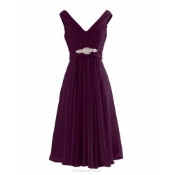 A Line Knee Length Straps V Neck Purple Chiffon Bridesmaid Dresses