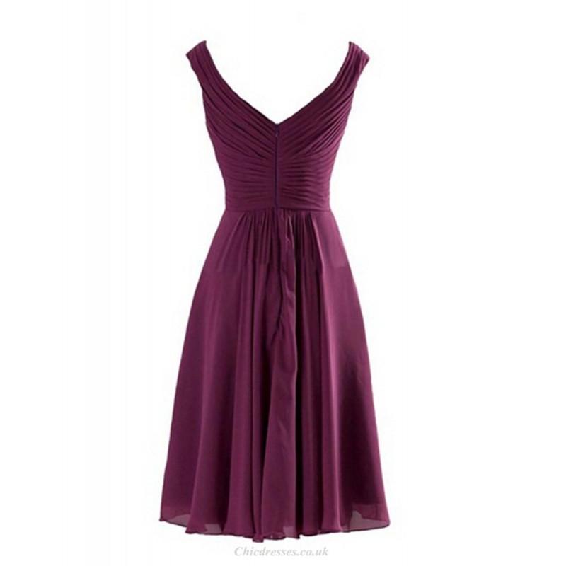 A-line Knee Length Straps V Neck Purple Chiffon Bridesmaid