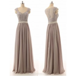 V Neck A Line Cap Sleeves Floor Length Chiffon Bridesmaid Dress With Beading
