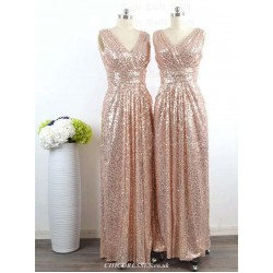 A-line Floor Length V Neck Bridesmaid Dresses Sleeveless Custom Made Formal Party Gown With Beaded