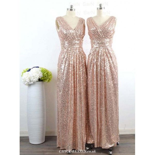 A-line Floor Length V Neck Bridesmaid Dresses Sleeveless Custom Made Formal Party Gown With Beaded 2016 New Arrival