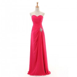 Elegant Floor Length A Line Bridesmaid Dresses Sweetheart Long Split Pink Chiffon Prom Dresses