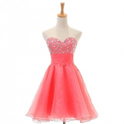 Simple Sweetheart Short Cocktail Dresses Pink Tulle Homecoming Dresses With Beaded