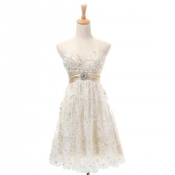 Elegant Short V Neck Lace Champagne Cocktail Dresses High Waist Strapless Prom Gown With Beaded