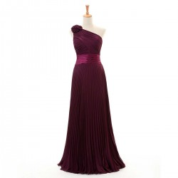 Simple A Line Long Bridesmaid Dresses One Shoulder Purple Dresses With 3D Flower