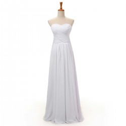 Simple A Line Long Bridesmaid Dresses Sweetheart Floor Length White Chiffon Evening Gown
