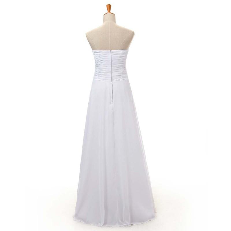 Simple A-line Long Bridesmaid Dresses Sweetheart Floor Length White ...