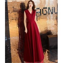Elegant Floor Lenth Prom Dress V Neck Red Evening Party Dress