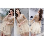 Elegant Knee Lenth Cocktail Dress V-Neck Champagne Tull Prom Party Dress With Long Sleeves Cocktail Dresses
