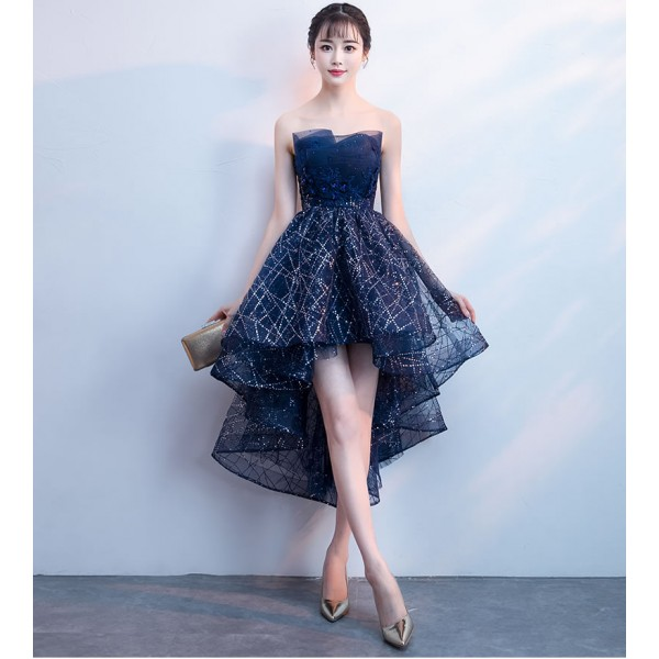 High Low Cocktail Dresses Navy Blue Prom Evening Dress Cocktail Dresses