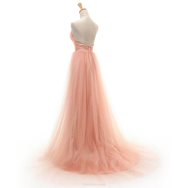 Trailing A Line Pink Tulle Sweetheart Prom Dresses Strapless Long