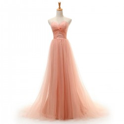 Trailing A-line Pink Tulle Sweetheart Prom Dresses Strapless Long Formal Dresses For Women Evening