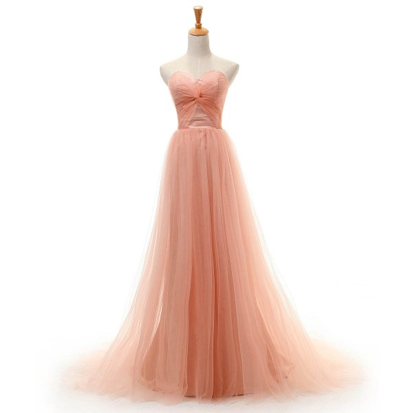 Trailing A-line Pink Tulle Sweetheart Prom Dresses Strapless Long Formal Dresses For Women Evening Prom Dresses