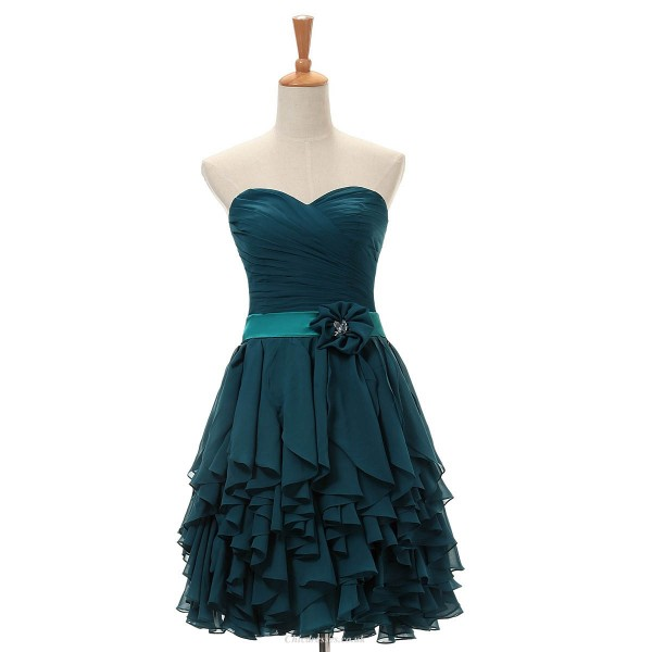 Short/Mini A-line Prom Dresses Ink Blue Chiffon Sweetheart Cocktail Dresses Prom Dresses