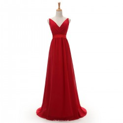 Elegant Floor Length Best A-line V-neck Red Chiffon Prom Dresses