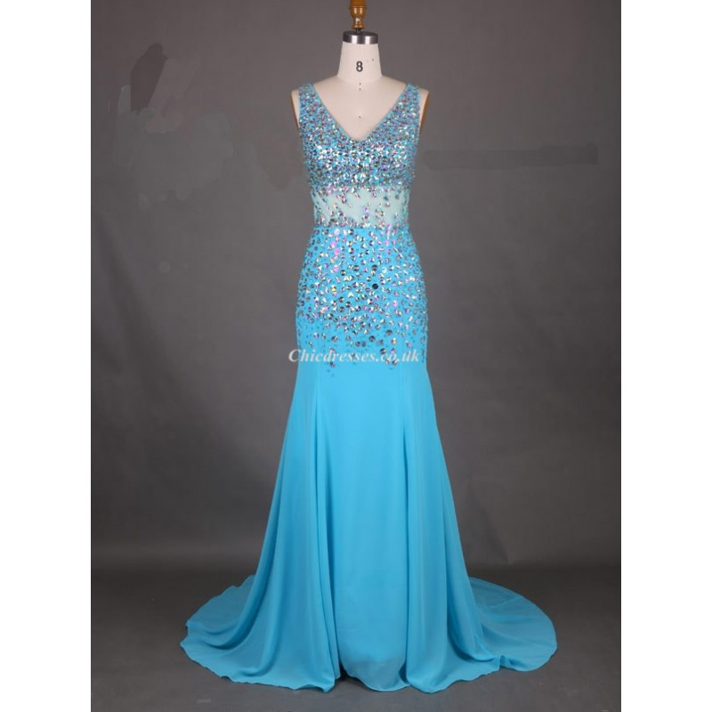 Long Blue Chiffon Prom Gowns With Beaded V Neck Mermaid