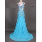 Long Blue Chiffon Prom Gowns With Beaded V- Neck Mermaid Evening Dress New Arrival