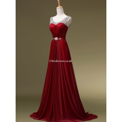Trailing Red Formal Dress Beaded Long Prom Gowns