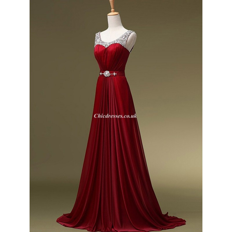 Trailing Red Formal Dress Beaded Long Prom Gownscheap Uk Dresses