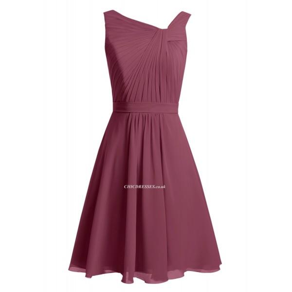 2018 New Short Purple Chiffon Bridesmaid Dresses Ruffles Short Prom/Homecoming/Party Dress Bridesmaid Dresses