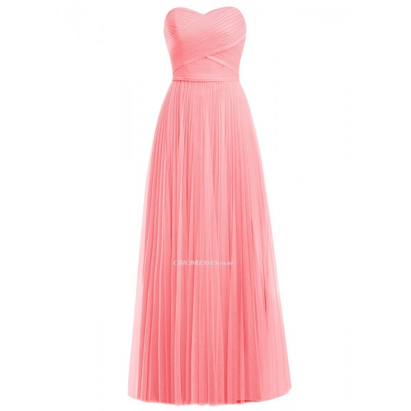 2018 New Floor Length Pink Bridesmaid Dresses Elegant Sweetheart A-line Long Coral Prom Dress Party Gown Bridesmaid Dresses