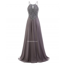 2018 New Dress A Line Spaghetti Straps Floor Length Grey Prom Evening Dress With Beading
