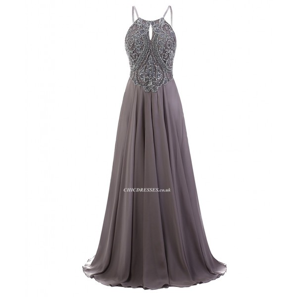 2018 New Dress A-Line Spaghetti Straps Floor Length Grey Prom/Evening Dress With Beading Prom Ball Gowns