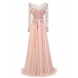 2018 New Dress Floor Length Pink Chiffon Backless Appliques Long Sleeve Prom Dress